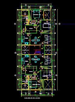 فایل اتوکد پلان معماری طبقه دوم مجتمع مس ی 5 طبقه با اندازه گذاری و مبلمان کامل قابل ویرایش