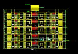 فایل اتوکد برش مجتمع مس ی 5 طبقه با کد ارتفاعی و مبلمان کامل قابل ویرایش