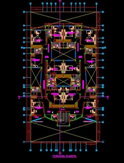 فایل اتوکد پلان معماری طبقه دوم آپارتمان مس ی 3 طبقه با اندازه گذاری و مبلمان کامل قابل ویرایش