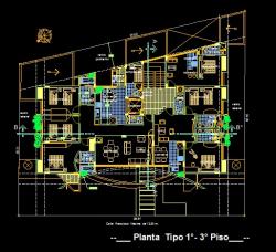 فایل اتوکد پلان معماری طبقات اول و سوم مجتمع مس ی 6 طبقه با اندازه گذاری و مبلمان کامل قابل ویرایش
