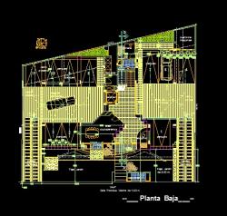 فایل اتوکد پلان معماری طبقه همکف مجتمع مس ی 6 طبقه با اندازه گذاری و مبلمان کامل قابل ویرایش
