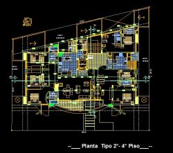 فایل اتوکد پلان معماری طبقات دوم و چهارم مجتمع مس ی 6 طبقه با اندازه گذاری و مبلمان کامل قابل ویرایش