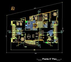 فایل اتوکد پلان معماری طبقات پنجم و ششم مجتمع مس ی 6 طبقه با مبلمان کامل قابل ویرایش